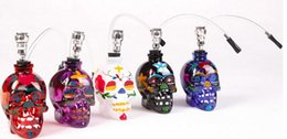 Wholesale Sharpstone mini skull colored drawing glass hookah tobacco tools smoking pipes for smoker
