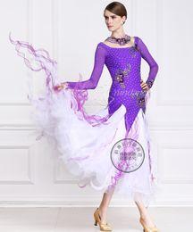 2016 purple customize ballroom Waltz tango Quick step competition dress