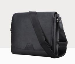 Fashion Real Leather Black Squares Men District Shoulder Bag Messenger Handbag Medium size 33 CM