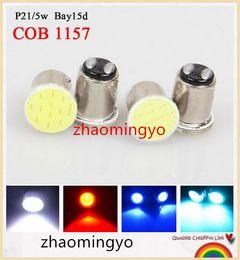 Wholesale 20pcs S25 P21 W bay15d COB v blue White red Auto led Car RV reactive Bulbs rear Turn signal lamp Brake lights parking