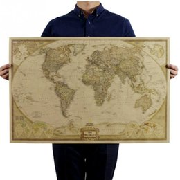 Wholesale Vintage Retro World Map Antique Paper Poster cm Wall Chart Home Decoration