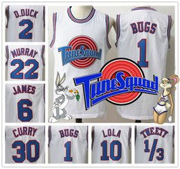 Wholesale With Logo name Stitched Basketball Movie Space Jam Tune Squad White Jersey Men Michael Curry James Bugs Shirt Sport Promotion