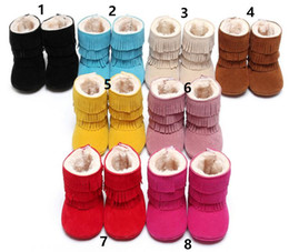 Kids Baby Winter Soft Warm shoes Toddler First Walkers tassel shoes infant Thicken Plus cotton boots Baby First Walkers free shipping