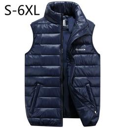Wholesale Big Size Men Vest Waistcoat Winter Jacket Down Vests Thicken Warm Coat Sleeveless Cotton Clothes Male Brand Clothing Blue Black
