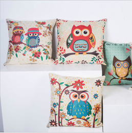 Wholesale 45cm cm animal birds pattern The owl linen and cotton pillow cover sofa pillow case car seat cushion cover decorative pilllow
