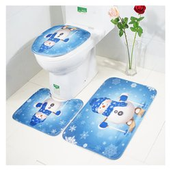 The three-piece suit carpet in bathroom anti slip rug super soft floor mat printing graphics door window mat christmas