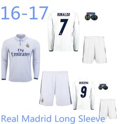 Wholesale New Real Madrid long sleeve Kit soccer jerseys uniform home white away Ronaldo james bale benzema kroos modric football shirts