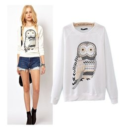 2018 Outerwear XS-S-M-L New Autumn Casual Cute White Owl Animal Print Beading Hoodies Pullover for Women High Quality