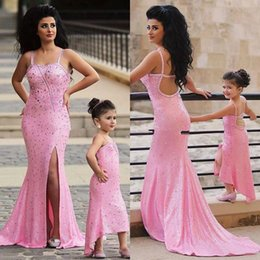 Charming 2016 Latest Pink Sequins Crystal Beaded Mermaid Prom Dresses Sexy Spaghetti Backless Illusion Side Split Long Party Gowns EN6186
