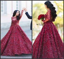2019 Newest A Line Backeless Burgundy Long Sleeve Lace Prom Dresses Sexy Full Beading Party Evening Dresses