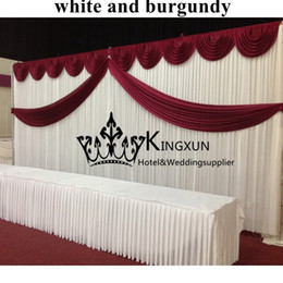 Wholesale Burgundy Swags And White Wedding Backdrop Curtain Background