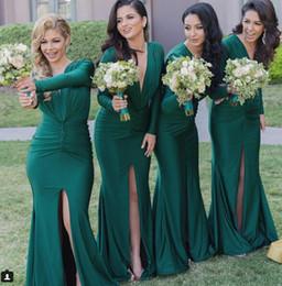 Dark Green Mermaid Long Formal Bridesmaid Dresses Deep V-neck Long Sleeve High Split Sexy Evening prom Dress Gowns Exquisite Partu Dress