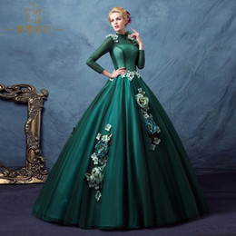 long sleeve dark green collar shoulder flower beading stage gown Victorian dress party stage performance medieval dress belle