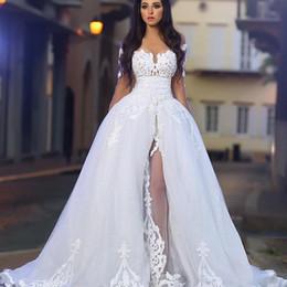 Wholesale Charming Lace Applique Edge Long Sleeve Country Wedding Dresses Plus Size Dubai Arabic Modest Off shoulder Brides Ball Gown