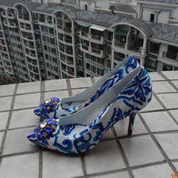 Wholesale 2016 New Fashion Style Brand Women Pumps Sexy Pointed Toe High Heels Dress Shoes Woman Mixed Color Painted Lady Pumps Blue And White Print