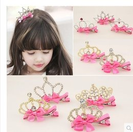 Girl Hair Clips Childrens Accessories Kid Princess Flower Hair Bows Korean Crown Barrettes Baby Hair Accessories Girls Hairbows
