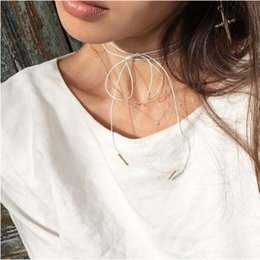 Wholesale Chokers Necklaces Jewelry Fashion Women Vintage Brief All match Colors Rope Bowknots Necklaces SN856
