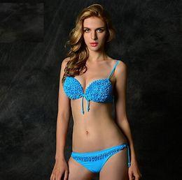 Wholesale AAA new Ruffles Lace Swimsuit Women Sexy Top Bottom Beach Suit Bandeau Bikini Sheer Bathing Suit Sexy Swimwear
