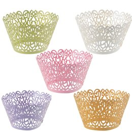 120pcs Laser Cut Filigree Vine Cupcake Wrapper Liners Bakeware Muffin Cup Cake Wedding Gift Box Birthday Favor Baby Shower Kitchen Decor