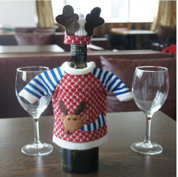 Wholesale Red Wine Bottle Cover Bags Christmas Dinner Table Decoration Home Party Decors Santa Claus Christmas Supplier EIK Gift