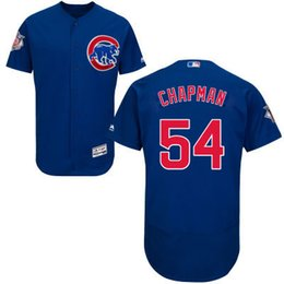 Wholesale Chicago Cubs Jersey Mens Aroldis Chapman Blue Flexbase Collection Baseball Jersey Size M XL Fast Shipping Embroidery Logos
