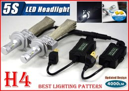 Wholesale 2016 Set H4 HB2 W LM S th LED Headlight Kit LUMILED LUXEON ZES CHIPS SMD High Low Beam Fanless Aluminum Belt Driving Lamp