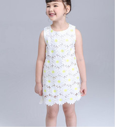 New 2016 Baby Girls party Dresses Toddler Baby Autumn Spring summer vest Dress for Princess Chamomile flowers Party dress children clothing