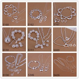 Wholesale Cheap Gift Set Free Shipping - 6 sets mixed style women's sterling silver jewelry sets,cheap fashion 925 silver Necklace Bracelet Earring jewelry set GTS50 free shipping