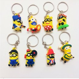 Wholesale Car Gods - 2016 popular small Yellow people key chain god steal dads despicable me silicone key chain stereo modelling keychain car pendant