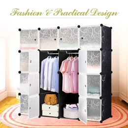 Wholesale IKAYAA Large Fashion Multi use Clothes Closet Wardrobe Cabinet DIY Cloth Shoes Storage Organizer US STOCK H16866