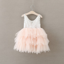 2016 New Kids Girls Ruffles Tutu Dress Halter Lace Embroidery Dress Princess Party Dress 5pcs lot Wholesale