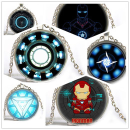 Wholesale Anime Iron Man Arc Reactor Pendant glass Necklace Steampunk Glass Cabochon Silver Choker Necklace For Women Man Jewelry