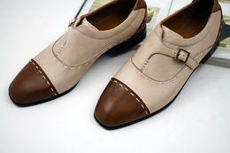Men Dress shoes Monk shoes Oxfords shoes Custom handmade shoes men's shoes Genuine calf leather Color split HD-N124