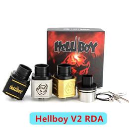 2016 Newest Hellboy V2 RDA Hell boy Atomizer Square shaped Dual post PEEK insulator Airflow ecigs Fit 510 Mech mods DHL free