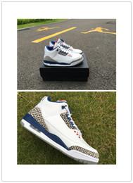 Wholesale 2016 new boy OG True Blue retro III white grey blue mens sport shoes good quality online