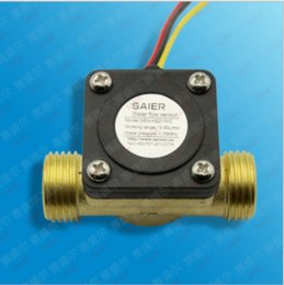 Wholesale Impeller type G1 quot Liquid fuel gas water heater flow sensor Hall Brass Copper Water control machine flowmeter