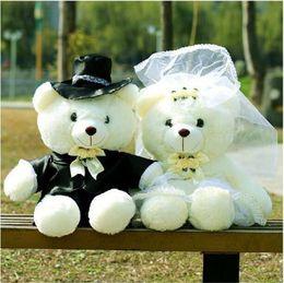 Wholesale Couples Wedding Dress - 45cm Good Quality Teddy bear plush toys cartoon toys Couple Bear Dressing Diamond Wedding Bear Toy Wedding supplies Nice Gift for Girl