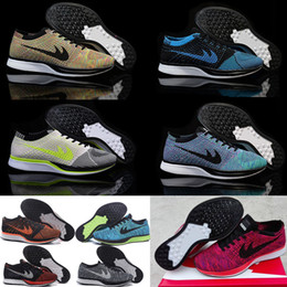Wholesale Good Quality Moon Sneakers for Cheap Men Women Black Purple Racer Red Grey Flykniting Navy colors Print Lunar Run Running Shoes