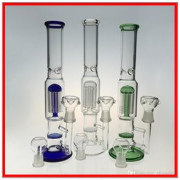Wholesale Glass Water Pipes Joint Glass Bongs Two Functions Arm Percolator Glass Bubbler Clear Green Blue color DHL to USA