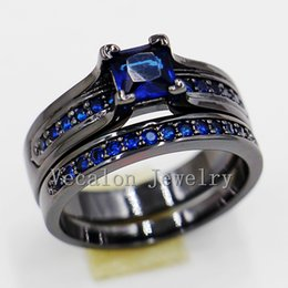 Vecalon 2016 Women Engagement Wedding Band Ring Set Blue sapphire Simulated diamond Cz 10KT Black Gold Filled Party Accessories
