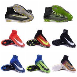 Wholesale Cheap Spiked Shoes For Men - 2016 Cheap Mens Women Kids Football Soccer Shoes Boots Mercurial Superfly V FG Youth Soccer Cleats For Boys Children boots Football shoes