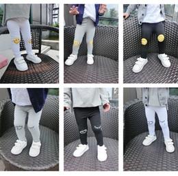 Wholesale Girl s Boys Cotton Face Smile Eyelash Ankle Length Basic Leggings Baby Kids Autumn Trousers Children Pants Skinny Dress