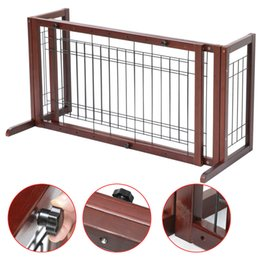 Wholesale Indoor Solid Wood Construction Pet Fence Gate Free Standing Adjustable Dog Gate