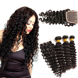 Top 7A Grade Malaysian Deep Wave with Closure 3bundles with lace closure Malaysian Deep Curly Vrigin Hair Natural Black Dyeable Hair Weave