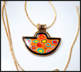 Colorful Stones Series 18K gold-plated enamel necklaces for woman Fan Pendant Necklace colar women necklace