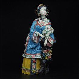 Wholesale Collectibles Antique Chinese Lady Ceramic Statue of Beauty Baihua Handmade Craft Vintage Porcelain Figurine for Christmas Gifts