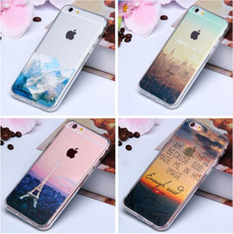 Wholesale 3D Paint Clear Soft TPU Silicone Case For iPhone S Acrylic Phone Back Cover Sweet Cherry Flower Scenery Coque for iphone S SE S Plus