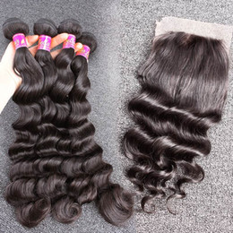 100% Human Hair Wefts with Closure Brazilian Virgin Hair Loose Deep Hair Extensions 4Bundles with Lace Closures Bellahair 8A
