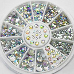 Wholesale 5 Sizes Nail Art Tips Crystal Glitter Rhinestone D Nail Art Decoration white AB color acrylic diamond drill Manicure