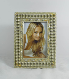 "4x6"" and 5x7"" Mahal Picture Frames Rectangle Golden Creative Resin Photo Frame With Beads Along Edging Design"